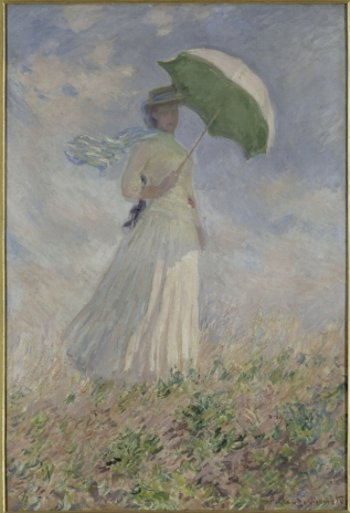 """Woman with a Parasol Turned to the Right"" 1886 by Claude Monet. My grandmother had one of the prints in this series hanging in her house for many years. It was so nice to see it in person."