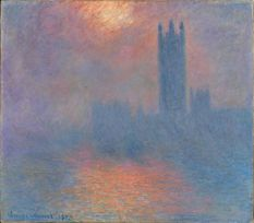 """London Parliament 1904"" by Claude Monet. Someone had to shew away a mother and her children because the mother thought she should get her finger close enough to touch it so her 3 year old daughter could learn all about Impressionism. Some of these mothers are INSANE."