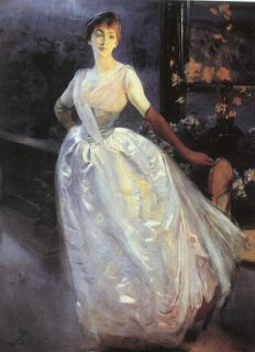"""Madame Roger Jourdain (Portrait of Mrs R. J...) "" 1886 by Albert Besnard. In person the dress of this woman glimmers and shines; it's really stunning."