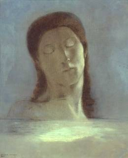 """Closed Eyes"" 1890 by Odilon Redon. I found an artist I had never heard of and researched him a bit. He has painted some truly strange and amazing pictures. I'm a new fan!"