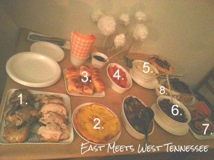 The full spread. 1. Roasted Chicken 2. Spanish Tortilla 3. Pull Apart Rolls 4. Glazed Carrots 5. Garlic Mashed Potatoes 6. Sweet Potato Mess