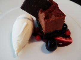 Raspberry Chocolate Mousse, Vanilla Ice Cream, Berry Compote