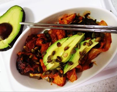 After cooking, add the avocado + roasted pumpkin seeds on top.