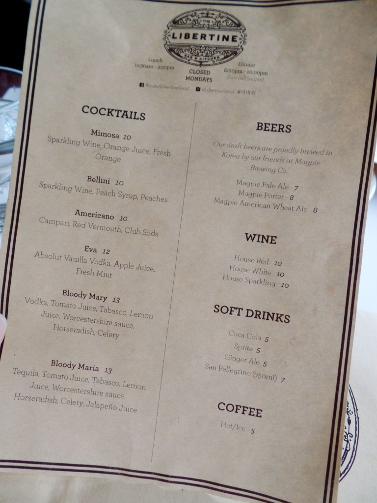Libertine Itaewon Drinks Menu