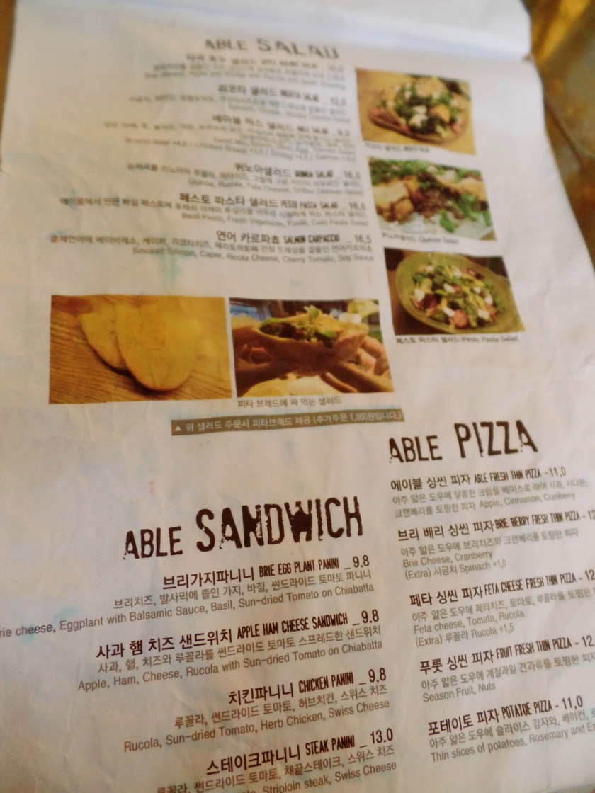 Cafe Able Menu