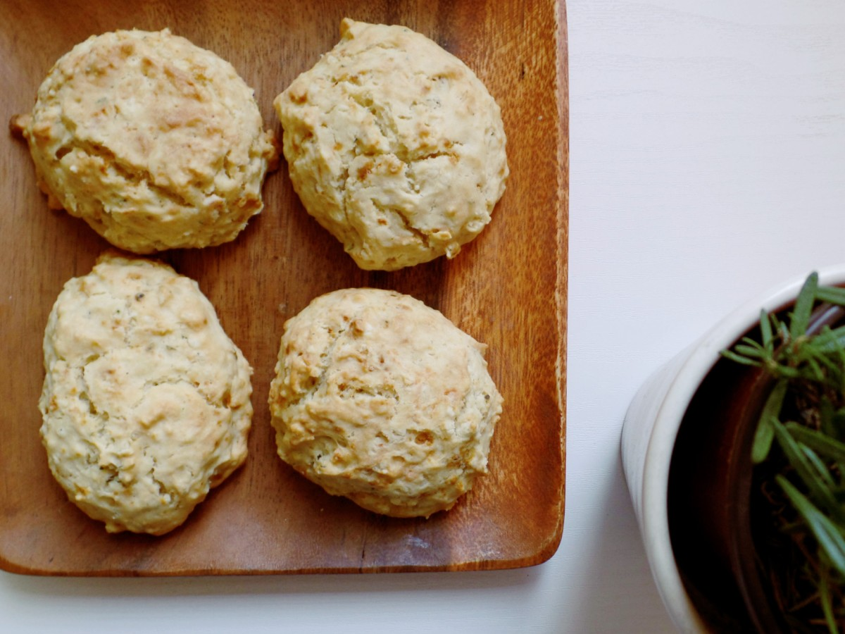 Olive Oil Drop Biscuits with Goat Cheese & Rosemary