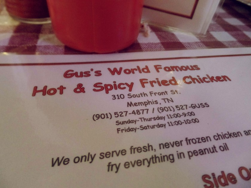 Gus's Memphis Menu