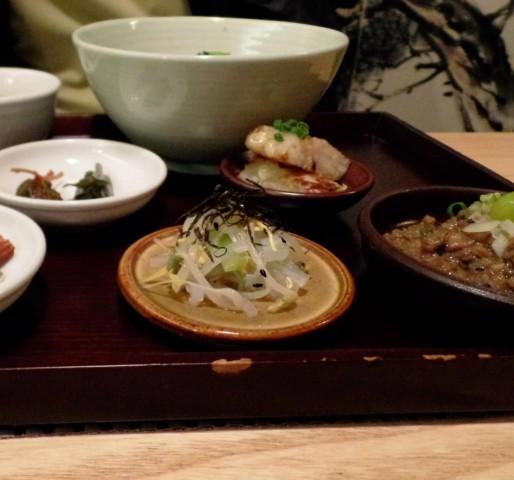 """mingles """"bansang"""" korean beef & crab sauce bibimbob with banchan"""